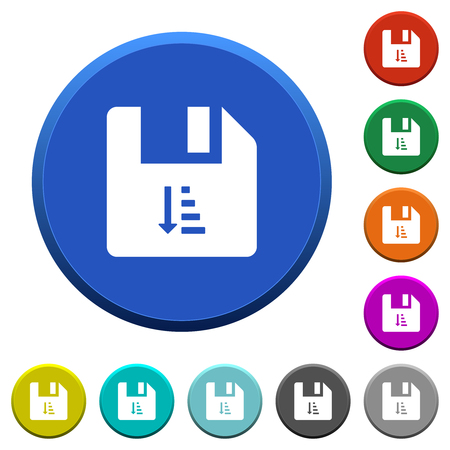 Ascending file sort round color beveled buttons with smooth surfaces and flat white icons