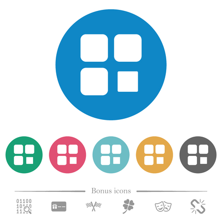 Component stop flat white icons on round color backgrounds. 6 bonus icons included.