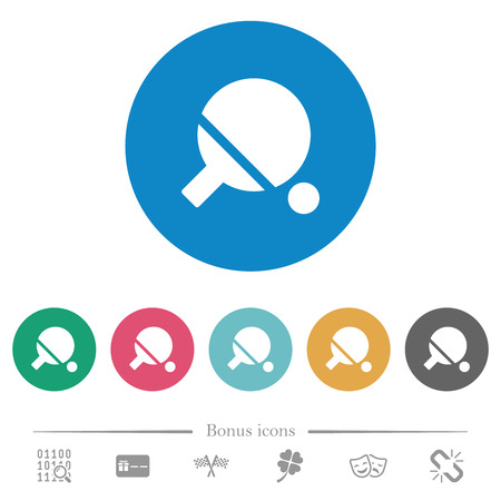 Table tennis flat white icons on round color backgrounds. 6 bonus icons included.