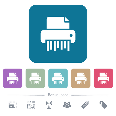 Office shredder white flat icons on color rounded square backgrounds. 6 bonus icons included Illustration