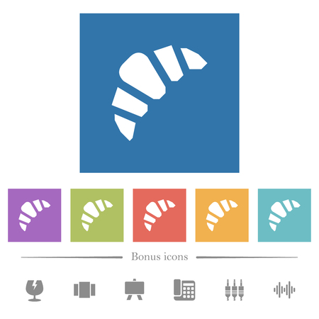 Bakery flat white icons in square backgrounds. 6 bonus icons included.