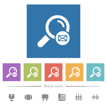 Search address flat white icons in square backgrounds. 6 bonus icons included. Ilustrace