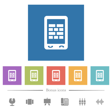 Mobile firewall flat white icons in square backgrounds. 6 bonus icons included.