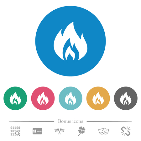 Flame flat white icons on round color backgrounds. 6 bonus icons included.
