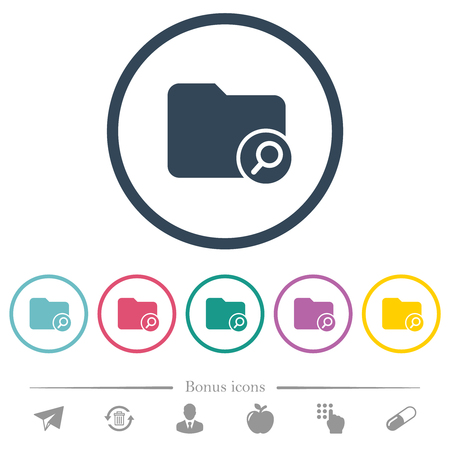 Find directory flat color icons in round outlines. 6 bonus icons included.