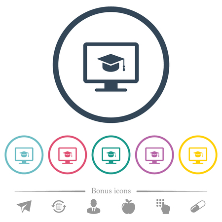 Webinar on monitor flat color icons in round outlines. 6 bonus icons included.