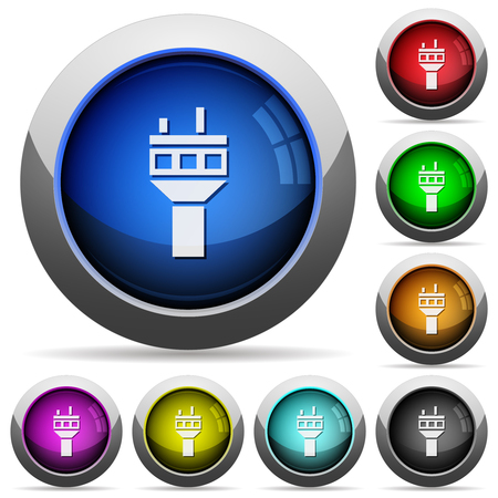 Air control tower icons in round glossy buttons with steel frames Ilustração