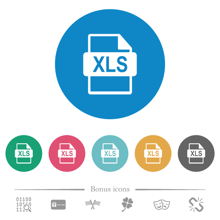 XLS file format flat white icons on round color backgrounds. 6 bonus icons included.