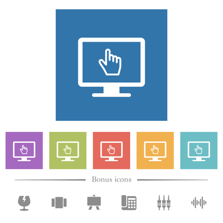 Monitor with pointing cursor flat white icons in square backgrounds. 6 bonus icons included. Illustration