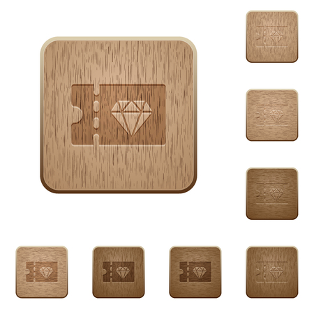 Jewelry store discount coupon on rounded square carved wooden button styles