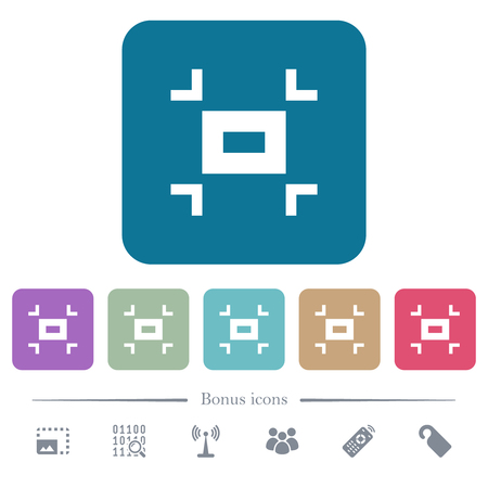 Small screen white flat icons on color rounded square backgrounds. 6 bonus icons included Ilustração