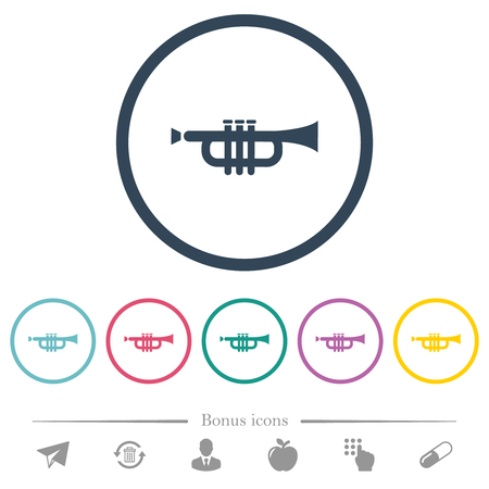 Trumpet flat color icons in round outlines. 6 bonus icons included.