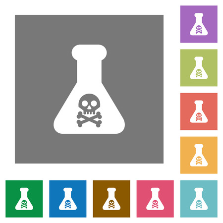 Dangerous chemical experiment flat icons on simple color square backgrounds Ilustrace