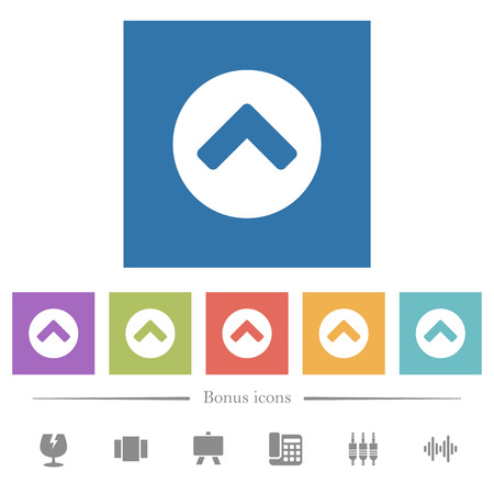 Chevron up flat white icons in square backgrounds. 6 bonus icons included.
