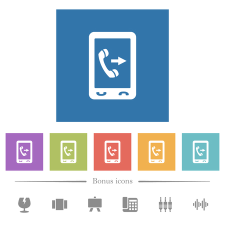 Outgoing mobile call flat white icons in square backgrounds. 6 bonus icons included.