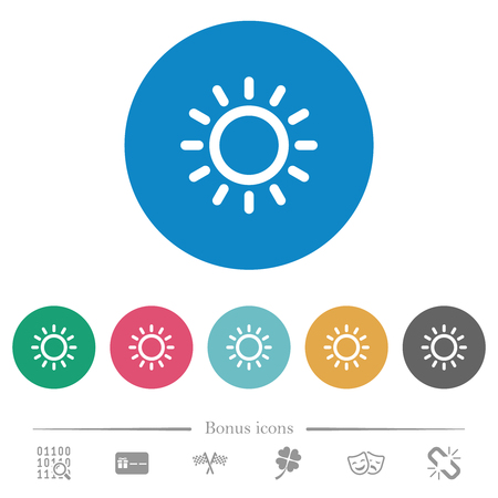 Brightness control flat white icons on round color backgrounds. 6 bonus icons included.