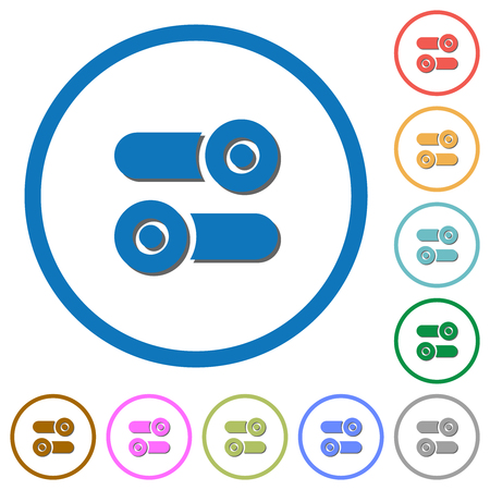 Toggle switches flat color vector icons with shadows in round outlines on white background