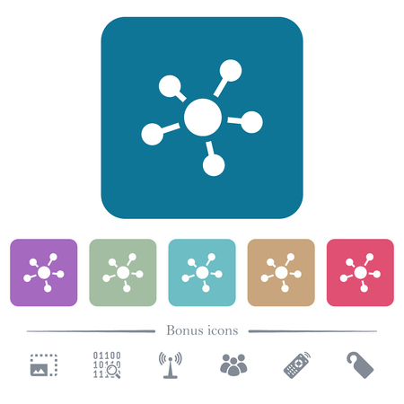Network connections white flat icons on color rounded square backgrounds. 6 bonus icons included Illustration