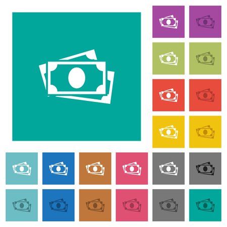 More banknotes multi colored flat icons on plain square backgrounds. Included white and darker icon variations for hover or active effects.  イラスト・ベクター素材