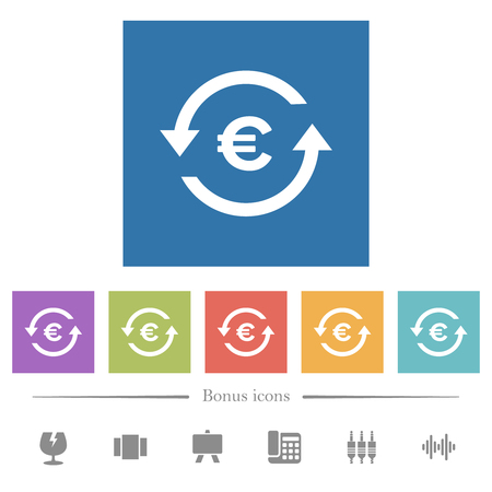 Euro pay back flat white icons in square backgrounds. 6 bonus icons included.