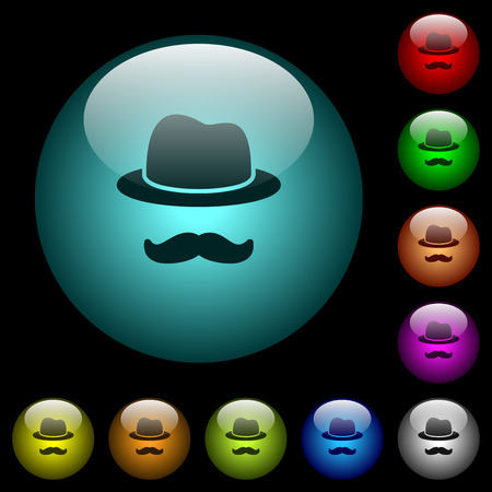 Incognito with mustache icons in color illuminated spherical glass buttons on black background. Can be used to black or dark templates Illustration