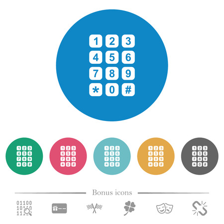 Numeric keypad flat white icons on round color backgrounds. 6 bonus icons included.