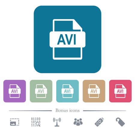 AVI file format white flat icons on color rounded square backgrounds. 6 bonus icons included