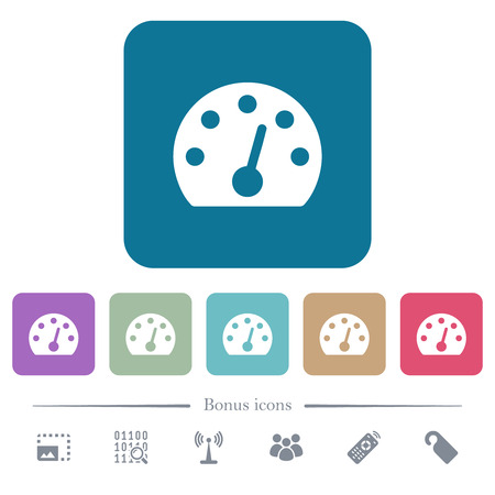 Dashboard white flat icons on color rounded square backgrounds. 6 bonus icons included