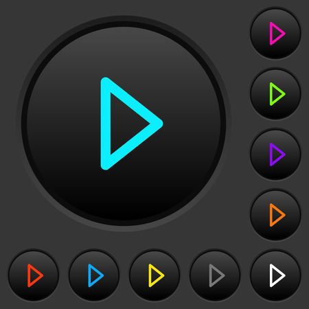Media play dark push buttons with vivid color icons on dark grey background