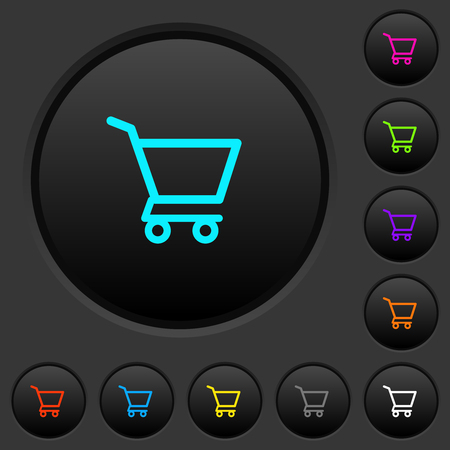 Empty shopping cart dark push buttons with vivid color icons on dark grey background