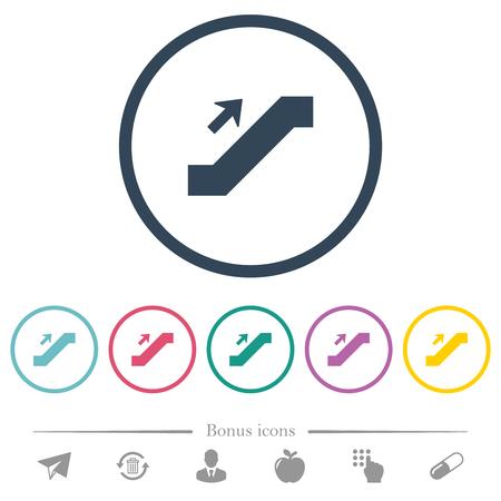 Escalator up sign flat color icons in round outlines. 6 bonus icons included. Ilustração