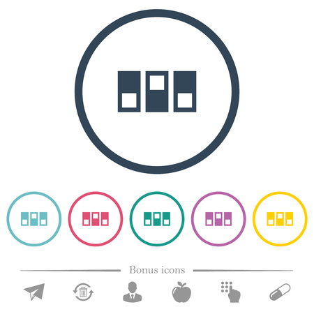Switchboard flat color icons in round outlines. 6 bonus icons included.