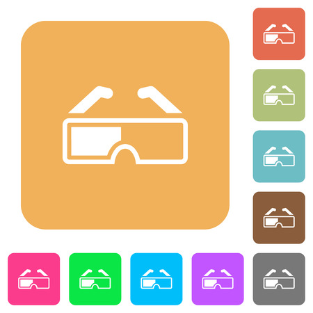 Retro 3d glasses flat icons on rounded square vivid color backgrounds.