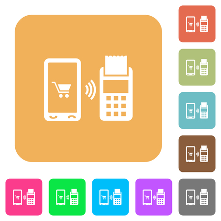 Mobile payment flat icons on rounded square vivid color backgrounds.