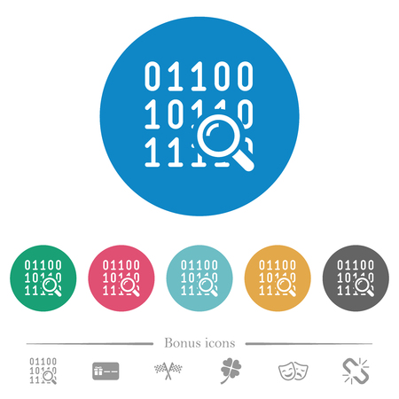 Code analysis flat white icons on round color backgrounds. 6 bonus icons included. Illustration