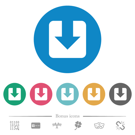 Download flat white icons on round color backgrounds. 6 bonus icons included.