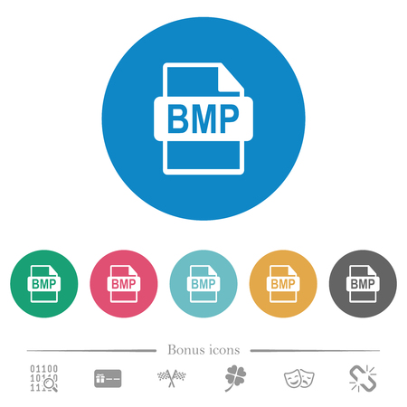 BMP file format flat white icons on round color backgrounds. 6 bonus icons included.