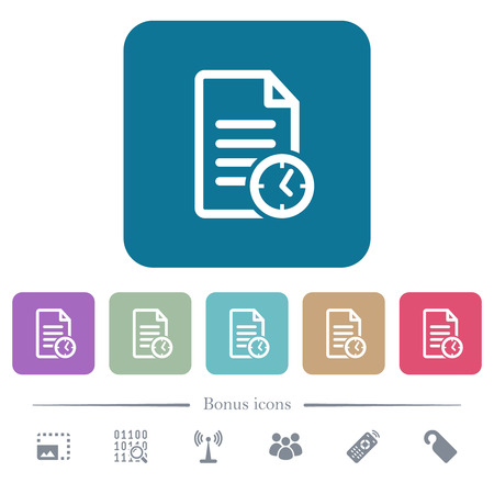 Document last modified time white flat icons on color rounded square backgrounds. 6 bonus icons included
