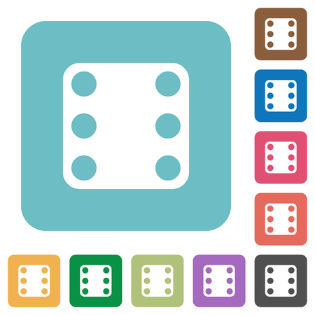 Domino six white flat icons on color rounded square backgrounds