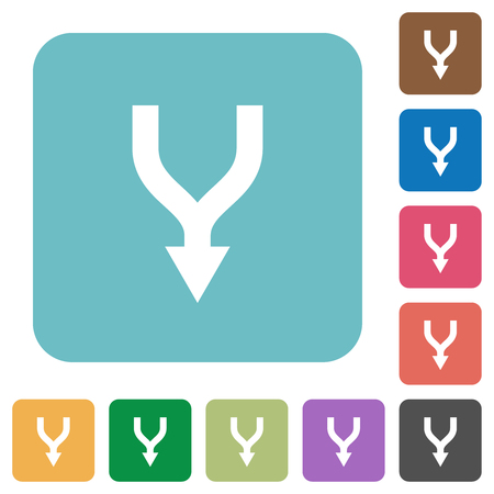 Merge arrows down white flat icons on color rounded square backgrounds