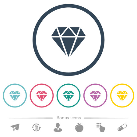 Diamond flat color icons in round outlines. 6 bonus icons included. Illusztráció