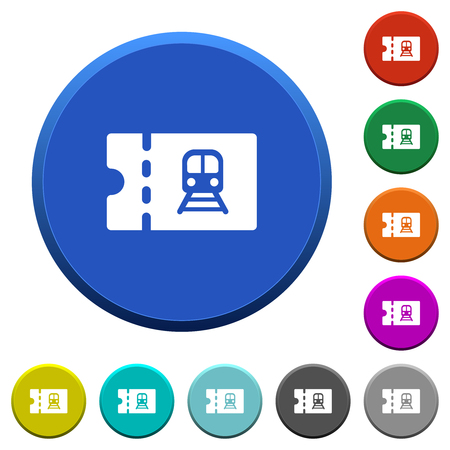 Railroad discount coupon round color beveled buttons with smooth surfaces and flat white icons