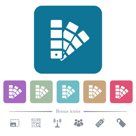 Color swatch white flat icons on color rounded square backgrounds. 6 bonus icons included