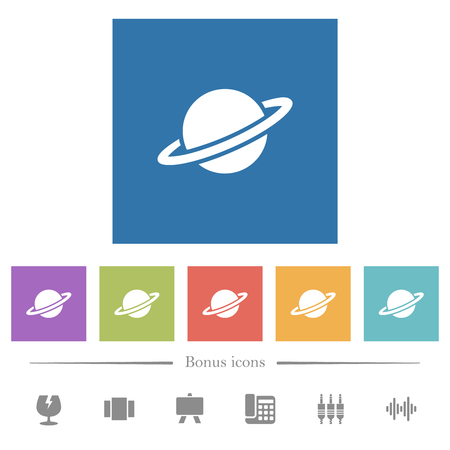 Planet flat white icons in square backgrounds. 6 bonus icons included.