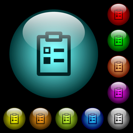 Survey icons in color illuminated spherical glass buttons on black background. Can be used to black or dark templates