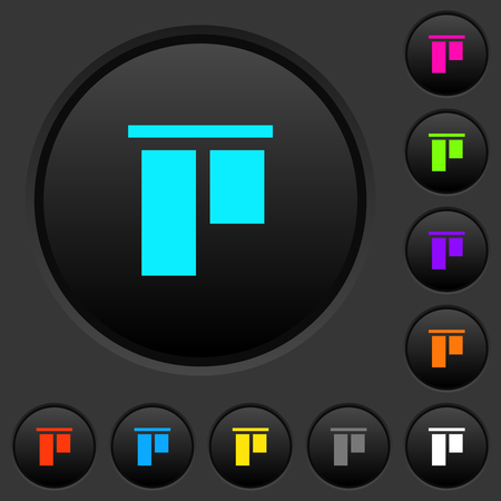 Align to top dark push buttons with vivid color icons on dark grey background