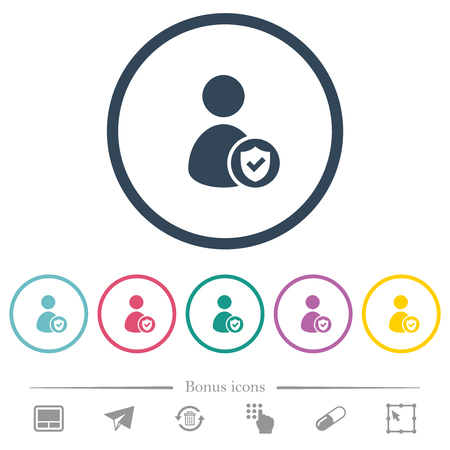 User account protected flat color icons in round outlines. 6 bonus icons included. Vektoros illusztráció