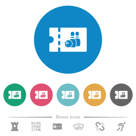 Bowling discount coupon flat white icons on round color backgrounds. 6 bonus icons included.