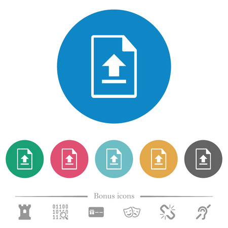 Upload file flat white icons on round color backgrounds. 6 bonus icons included.
