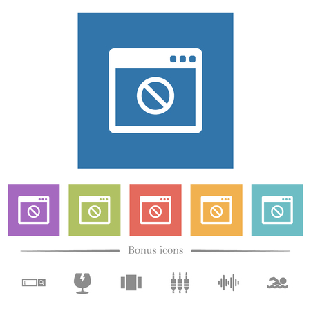 Disabled application flat white icons in square backgrounds. 6 bonus icons included. Ilustrace